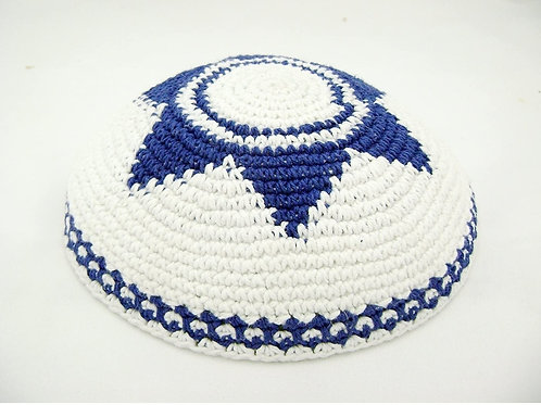 White Star Of David Crochet Knitted Kippah 16-17 CM
