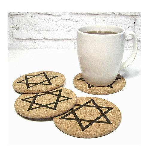 Jewish Star of David 4 Coaster Set Judaica Gift