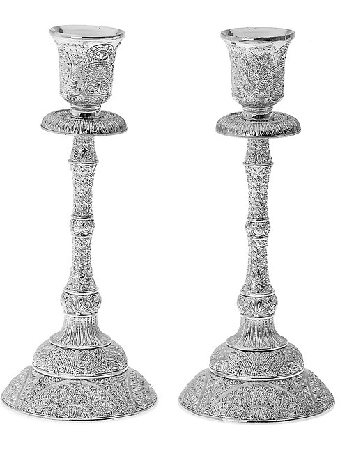 Pair of Candlesticks with Detailed Filigree Design