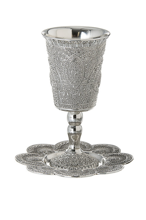 Silver Kiddush Cup and Plate – Filigree Design