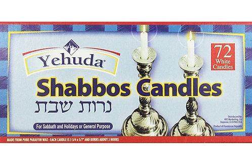 Yehuda 3 Hour White Shabbat Candles 72 ct
