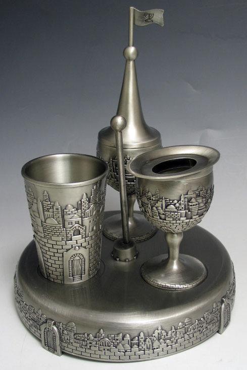 Havdalah Set Pewter With glass insert