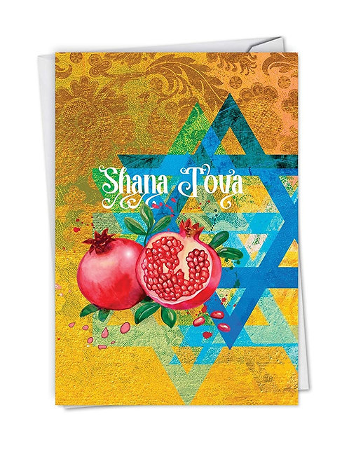 Shana Tova Greetings - Rosh Hashanah Greeting Card with 5x7 Envelope