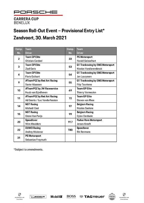 PCCB2021_Provisional Entrylist_Zandvoort