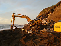 Revetement work at the Bluffs, on the beach in Pacifica.