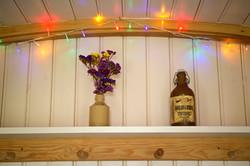 Fairy lights inside the hut