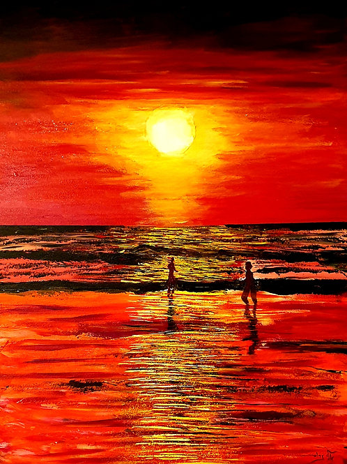 The red sunset  that leave us enchanted