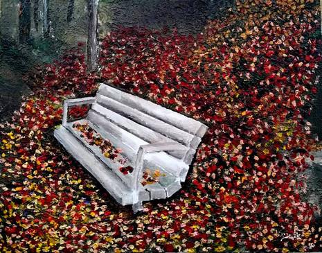 Autum solitude and the foliage, Acrylic.