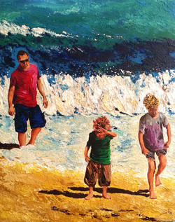 Child is scared of the water   Acrylic