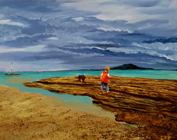 The child is wandering with his dog on the beach. The sky are like an hungry dog, with stormy clouds