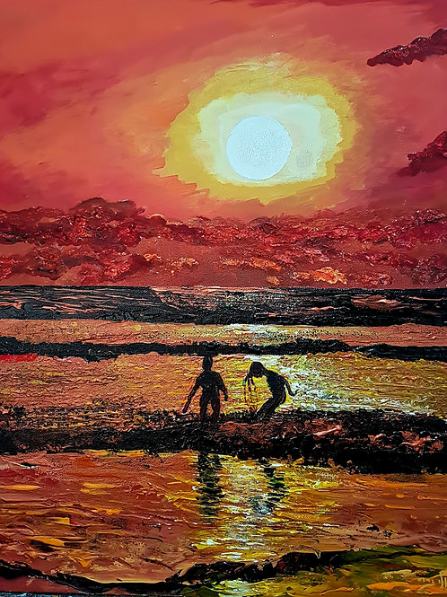 With the setting sun came a sky of fire   (Acrylic)
