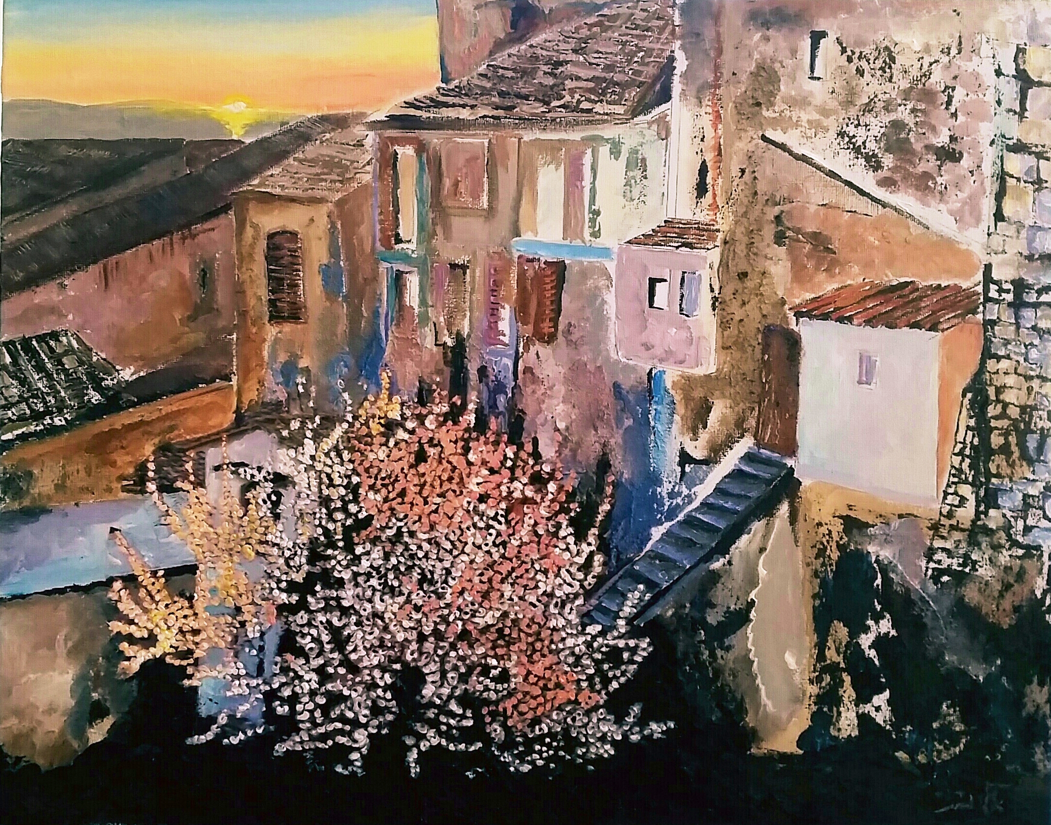 Memories of an ancient village with sweet fragnance of Almond blossom -