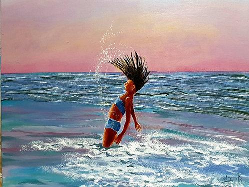 A girl who leapt like dolphin   - Acrylic