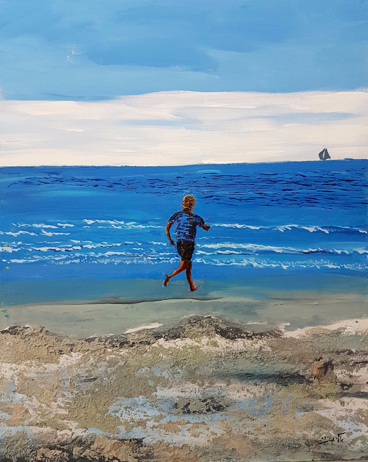 Running along the shore, as a journey to no end - Acrylic_edited