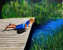 The hidden lake, deep and clear - Acryli