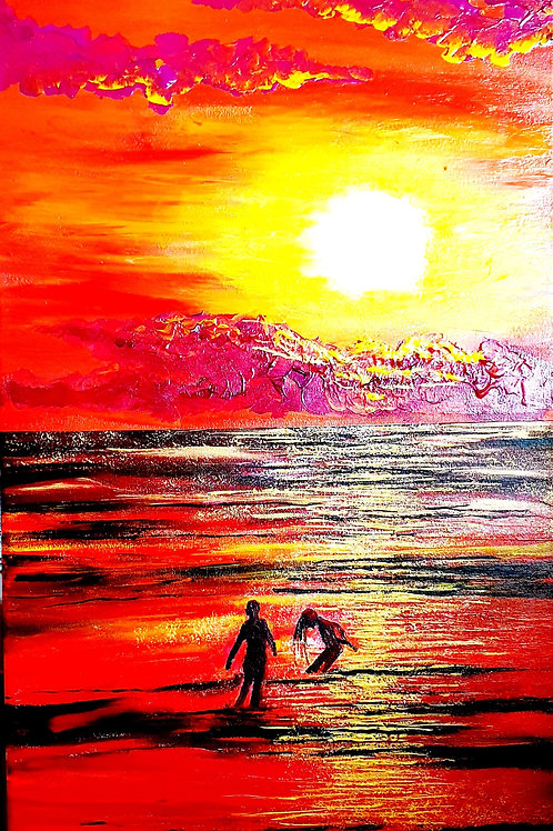 Sunset burning into a sea in a flushed, golden hue 40X80cm