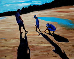 Meeting at the shore by the sea in the sunset, dwindle in the shadows (Acrylic)