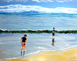The sea plays with children, and pale gl