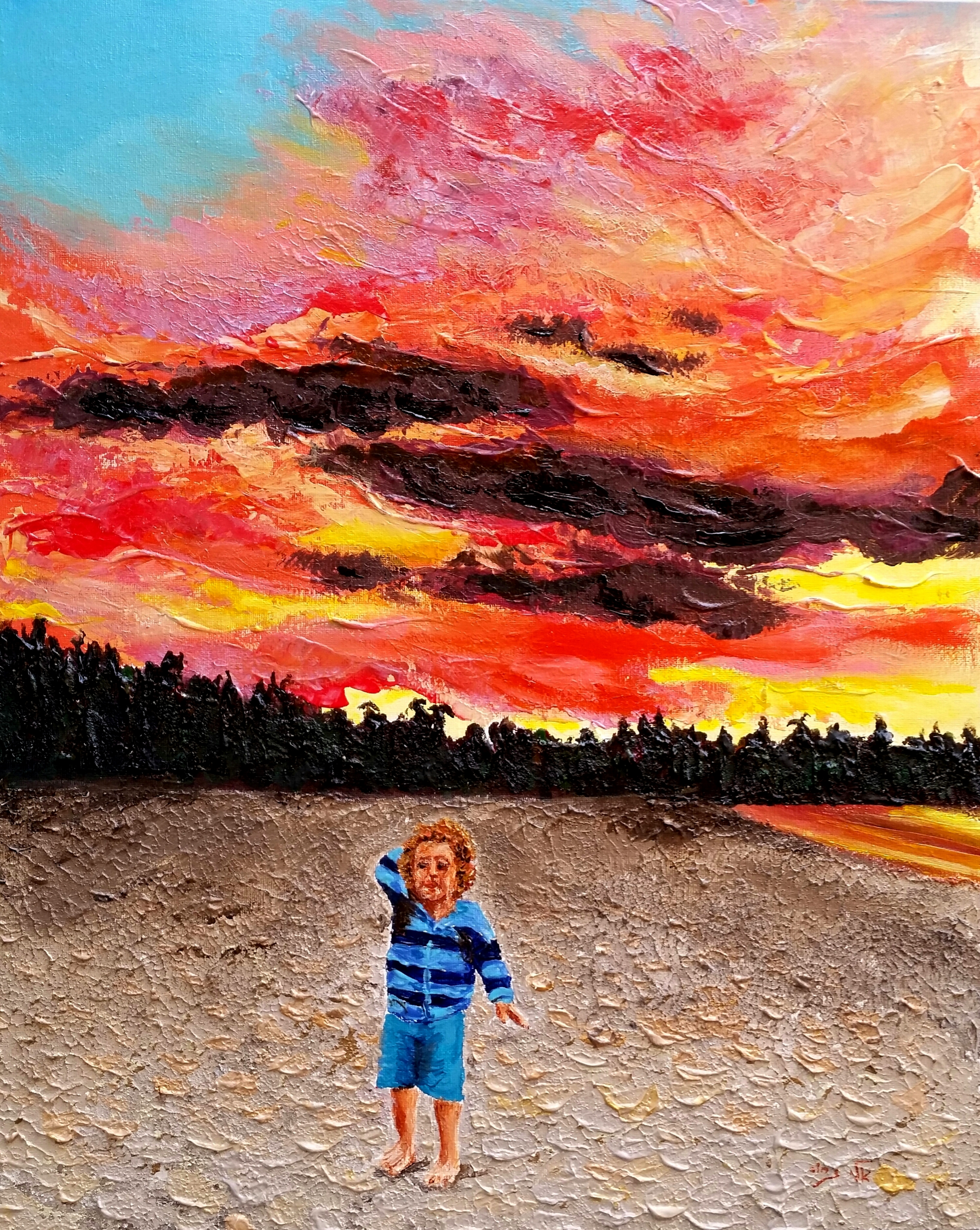 Clouds and colors blend at sunset  - Acrylic