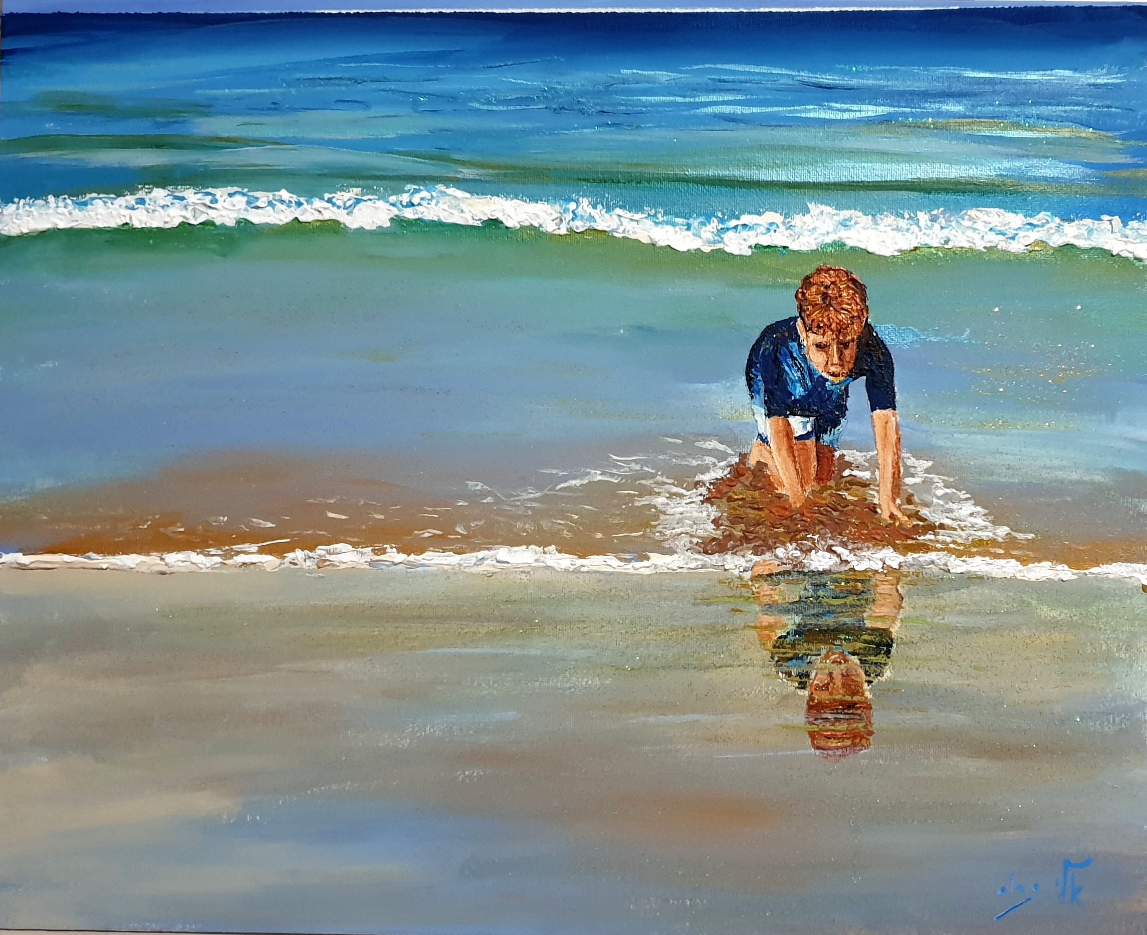 paddle in the shallow waters - Acrylic