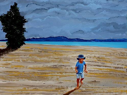 A pale gleams  the smile of the sea-beach