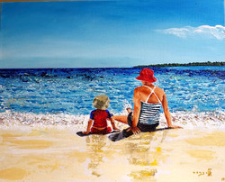 Osnat and Daniel far away (Fiji)  Acrylic 40-50 2015