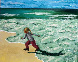 The frothy bubbles chase the little girl