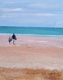 Serene blue sky watches  the sandy beach_edited