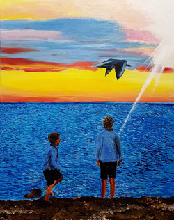Watching a seagull floating – Acryli