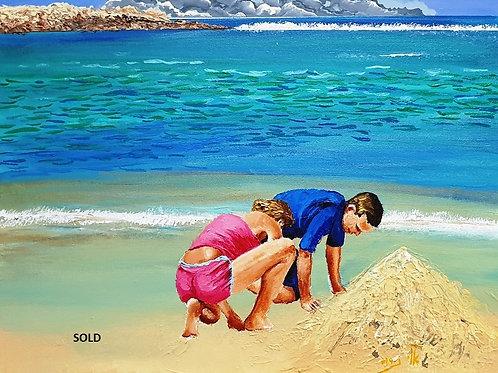 Tantura  beach, Aug 2020  acrylic