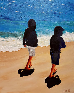 They love the unbelievable sea colors, combined with white sand  (Acrylic)_edited
