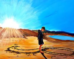 Playa Drawings of the Maori Hei matau (fish hook - symbolizes prosperity) - Acrylic