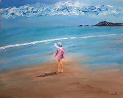She love the sky reflected in the sea an