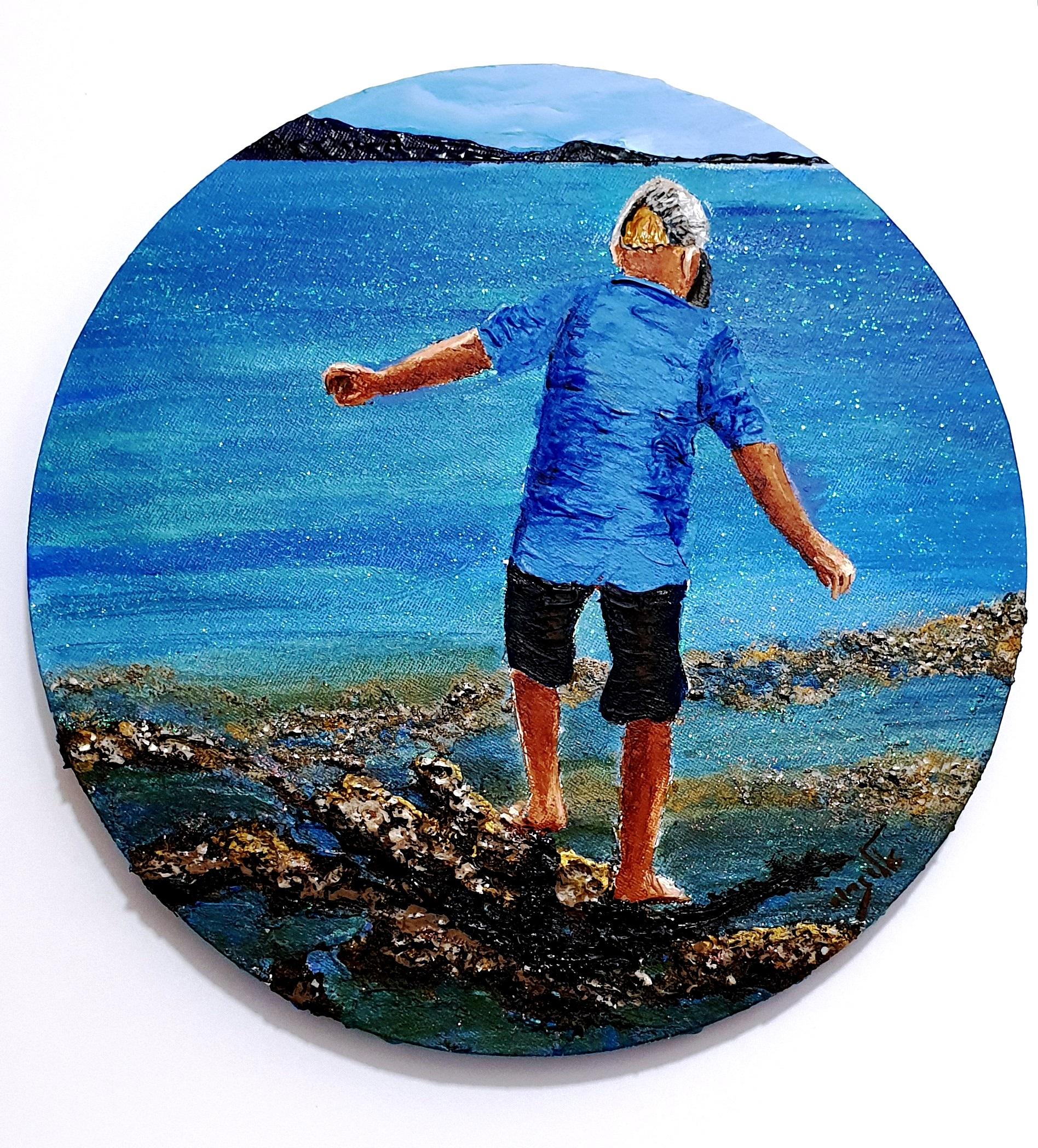 יחף בחוף, מנתר מסלע לסלע - אקריליק