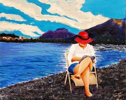 אשה עם  הכובע  האדום  (אקריליק)