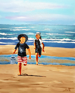 The sea plays with children, and pale gleams the smile of the sea-beach
