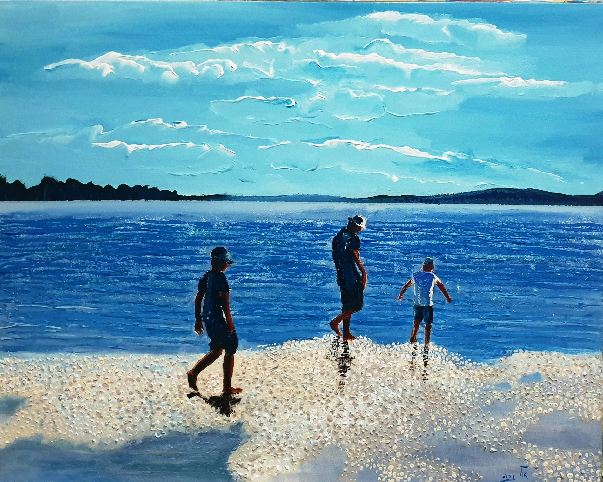 Silhouettes along the beach - Acrylic