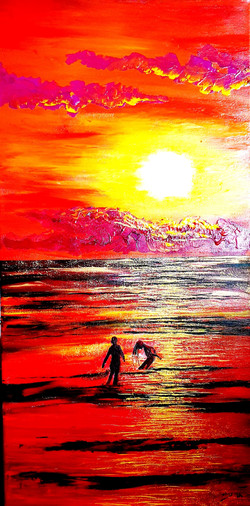 Sunset burning into a sea in a flushed,