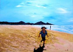 Playing at the seashore