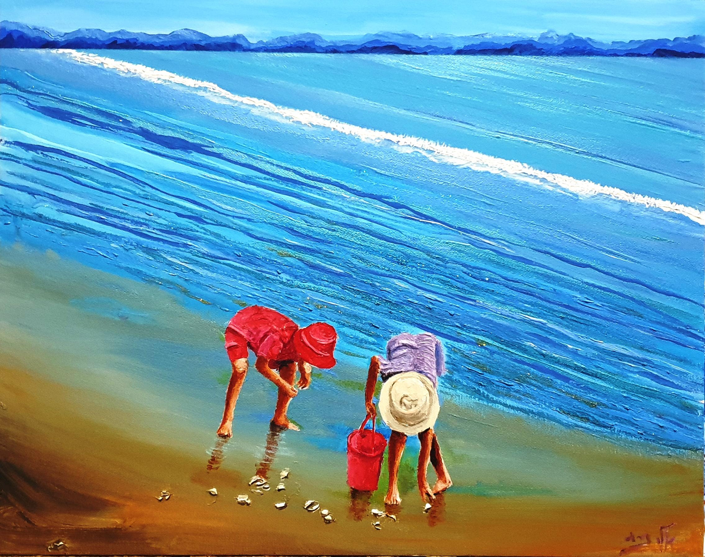 ילד לא יכול לאסוף את כל הצדפים שעל החוף,