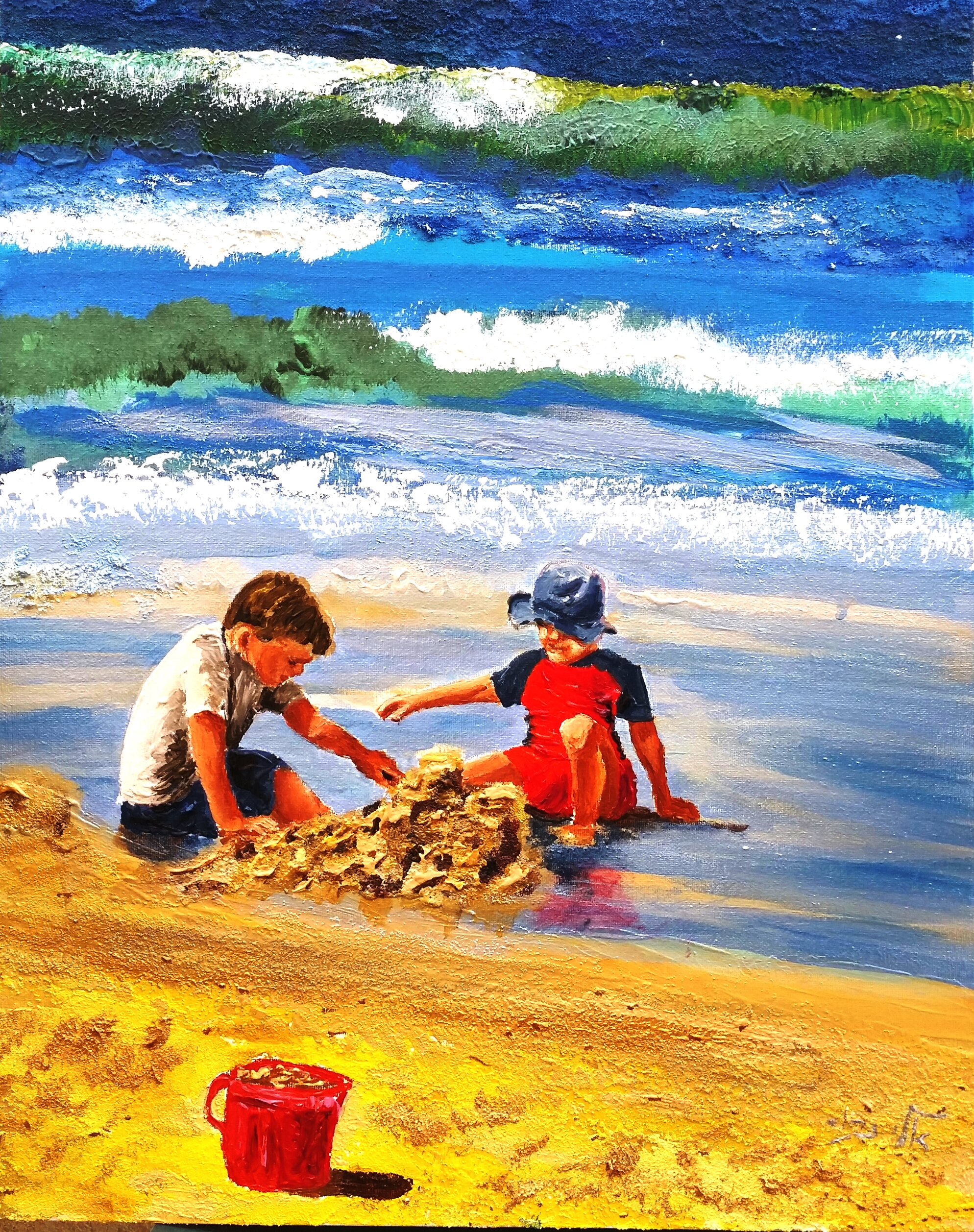 Children build their houses with sand, and they play with empty shells.