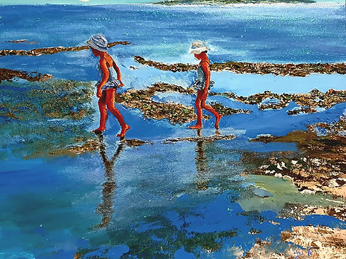 A great evening full of fun, while walking at the beach –  Acrylic