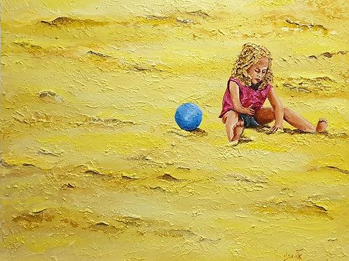 She loves to make castles, molding the warm moist sand -   Acrylic