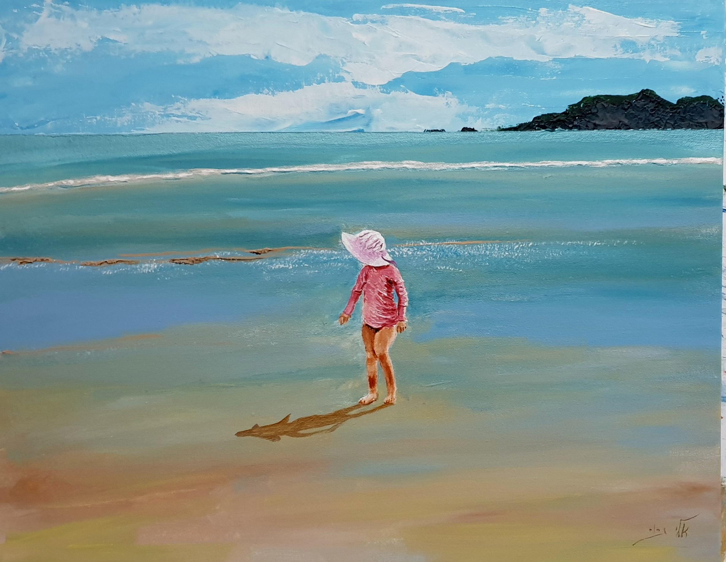 בת ים עולה לחוף בצבע ורוד קטיפתי - אקריל