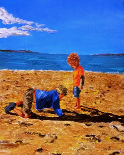 Children gather pebbles and scatter them again. They do not seek   for hidden treasures.