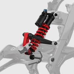 Suspension: Front Double-Shoulder Inverted Fork. Rear: Multi-link Hydraulic Central Type