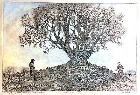 "AustrAlien Tree, 22x27"" matted"