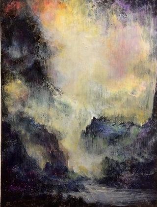 """Cascadia,  23x29"""" framed acrylic painting"""