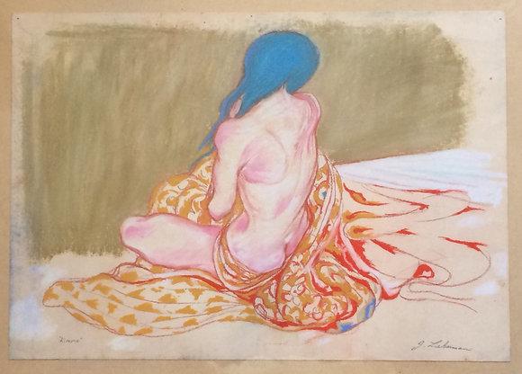 "Kimono, framed 18x24"", pastels"