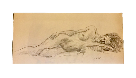 "Reclining Nude, 23.5""x11"" matted"